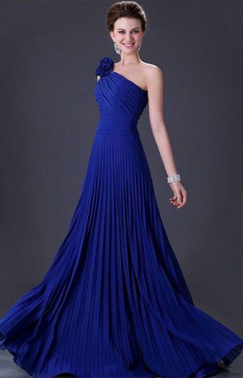 Vestido largo, de fiesta, boda, noche, azul electrico, asimetrico, elegante
