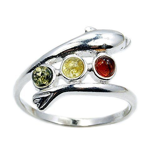 Sterling Silver Natural Multicolor Baltic Amber Dolphin Ring, Size 7.25  Price : $24.95 http://www.silverplazajewelry.com/Sterling-Silver-Natural-Multicolor-Dolphin/dp/B019GEQMJ8