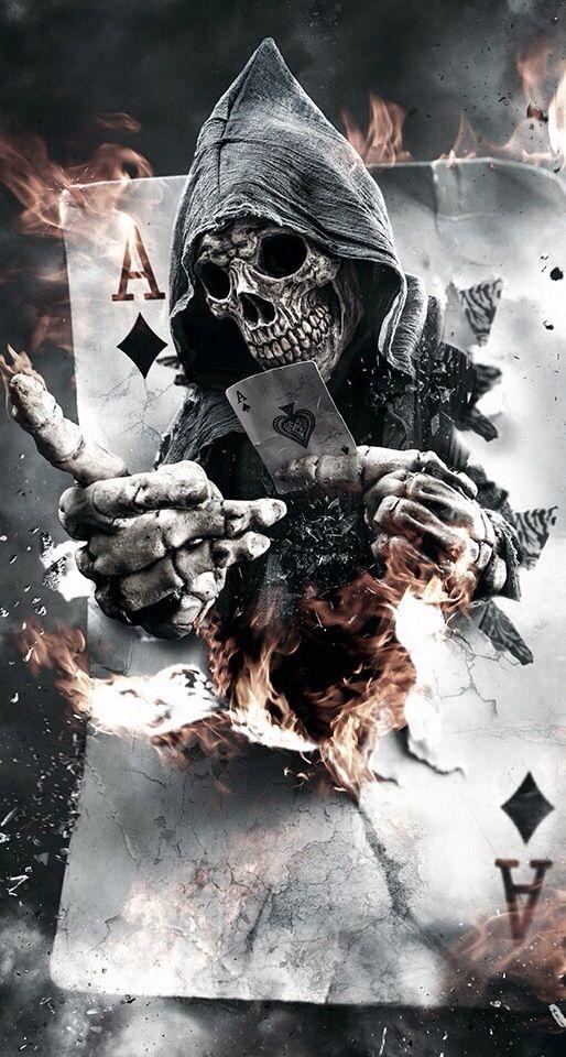 Playing Cards Grim Reaper Skull Wallpaper Creepy Art Grim Reaper Art