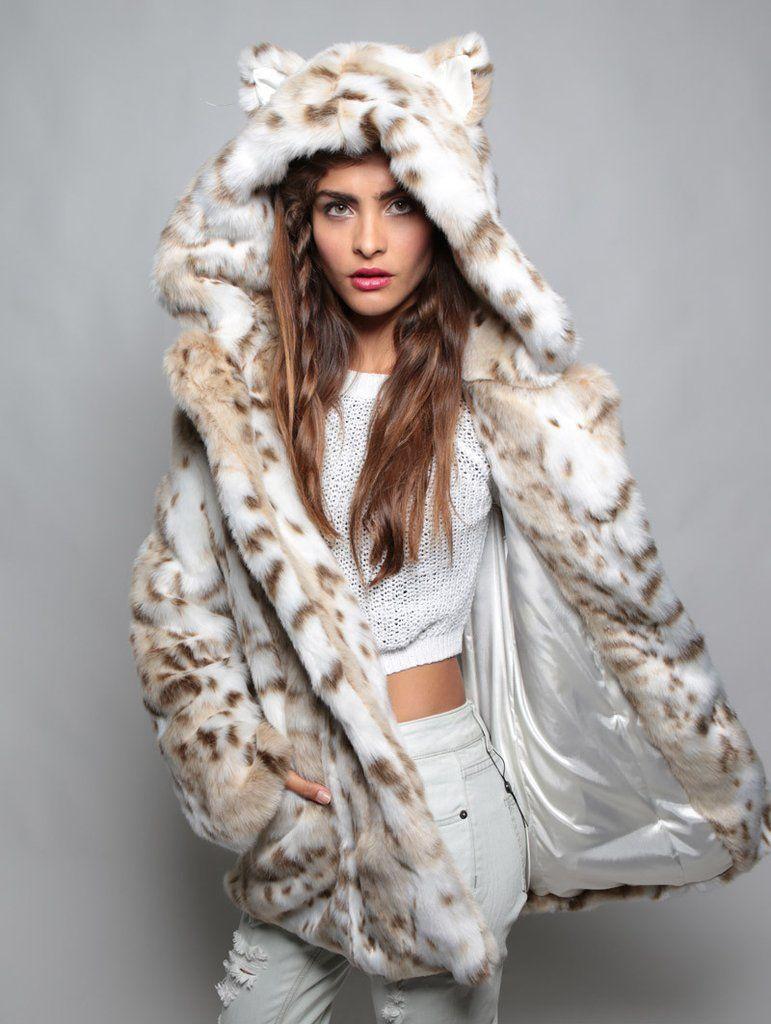 3157a33b7479 Classic Siberian Snow Leopard Faux Fur Coat | SpiritHood Series ...
