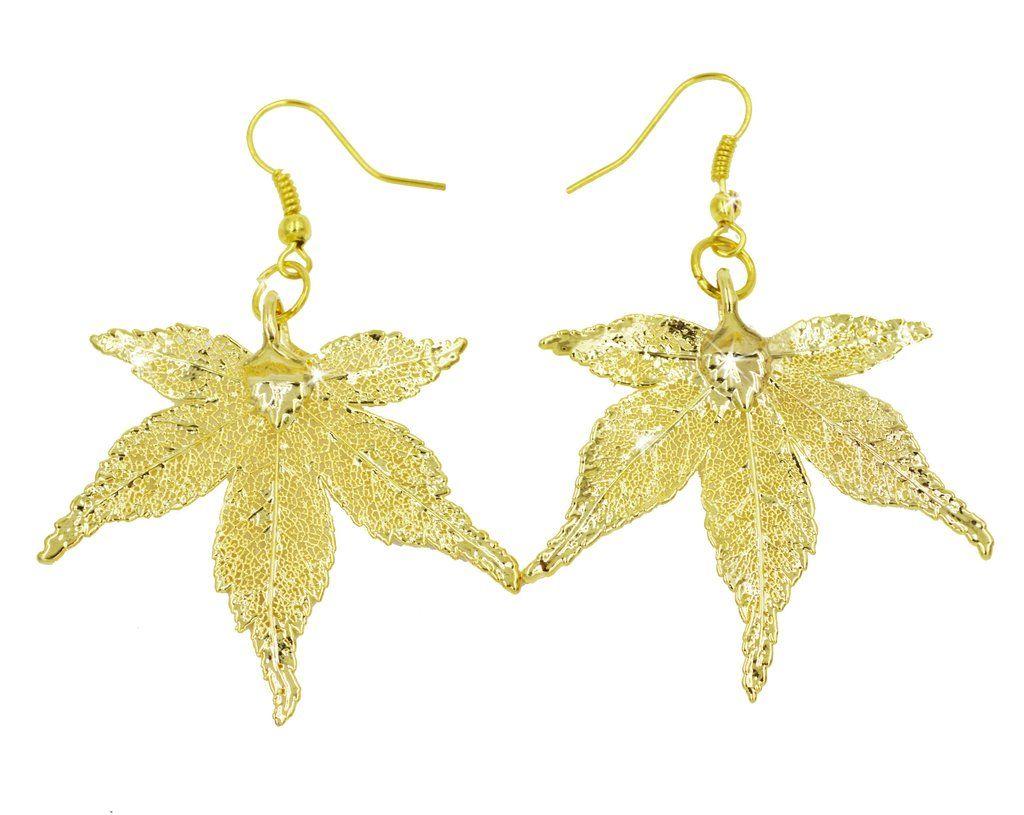 Real Leaf Hook Drop EARRINGS Japanese Maple Dipped in 24K Yellow