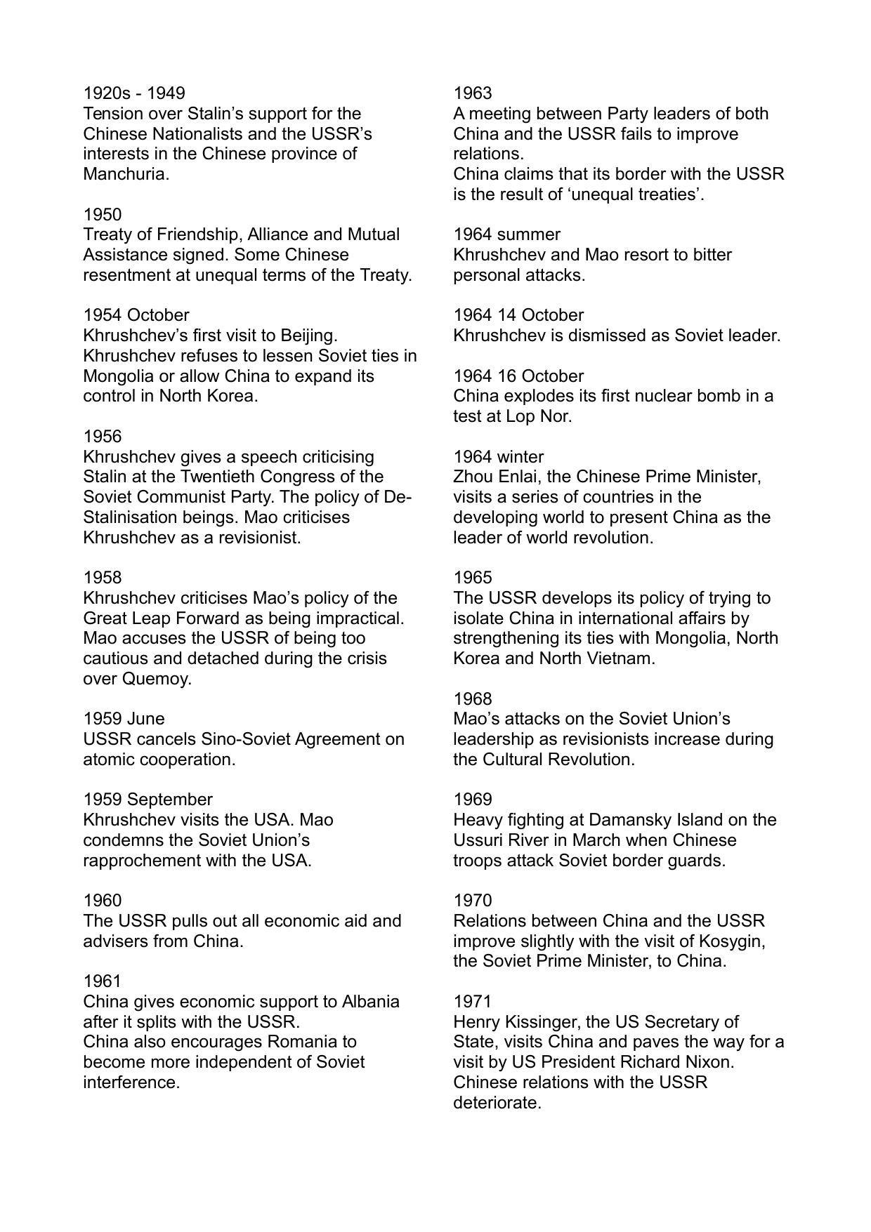 Sino Soviet Relations Timeline Doc