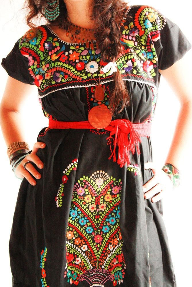 huipl red embroidered Mexican Dress