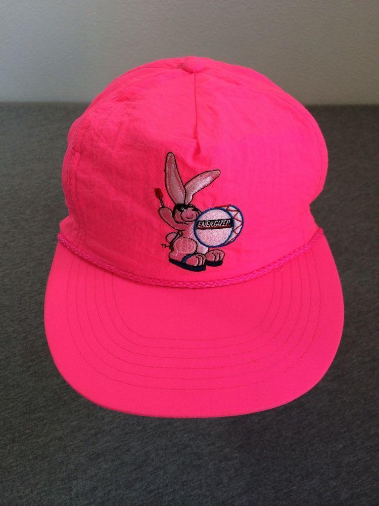 Vtg 80 s ENERGIZER BUNNY Snap Back Hat NEON PINK Bright! Unworn Mint NWOT   BaseballCap 7a510c14277b