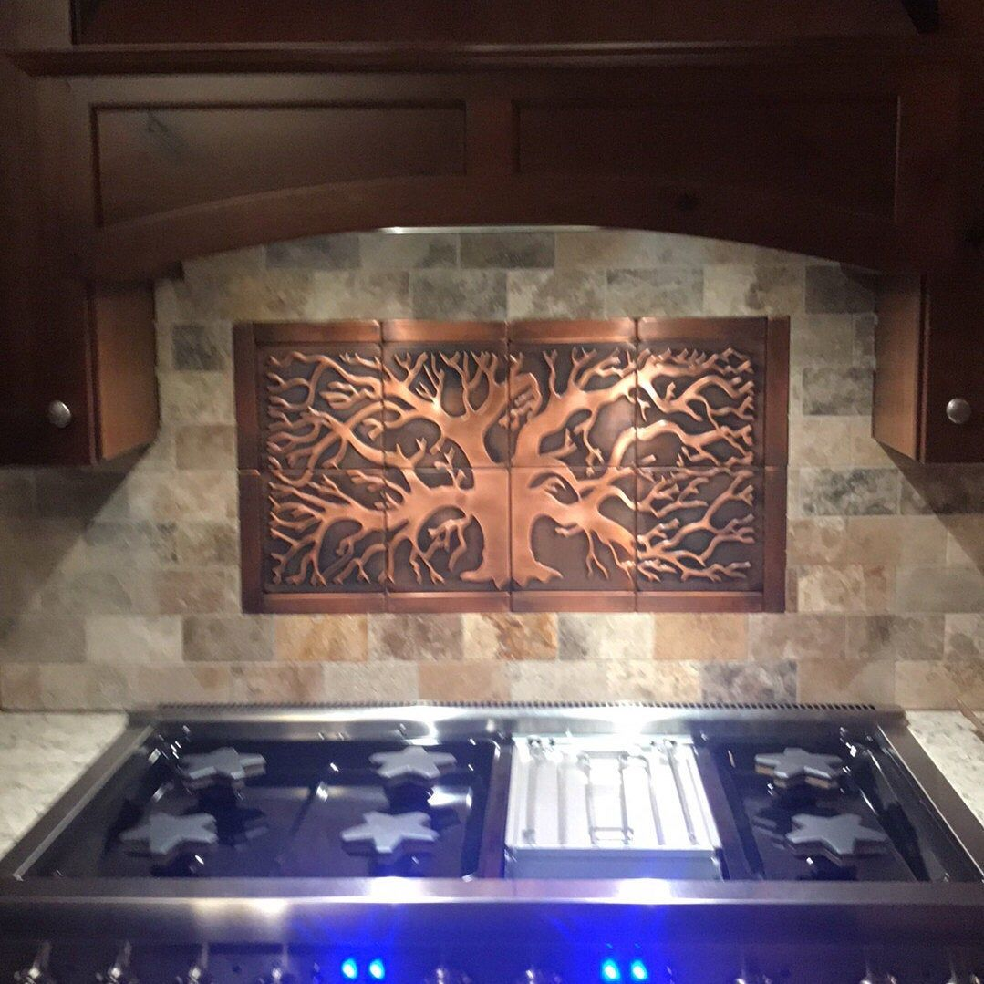 Tree Of Life Backsplash Kitchen Backsplash 20 Tiles Design Backsplash Tiles Silver Tiles Copper Tiles In 2020 Copper Tiles Copper Decor Decorative Tile