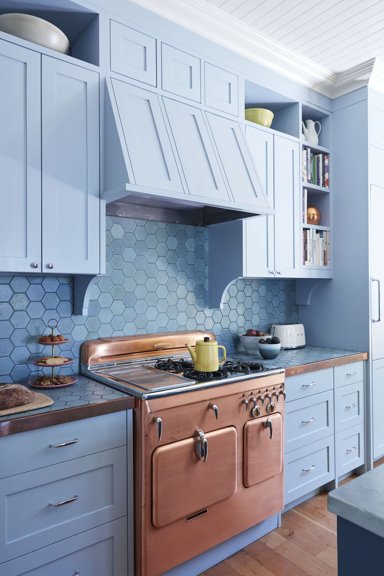 Can You Guess The Most Popular Paint Color The Year You Were Born Country Chic Kitchen Blue French Country Kitchen Kitchen Cabinet Styles