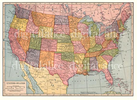 VINTAGE 1938 USA MAP Instant Download Digital by DigitalAlice