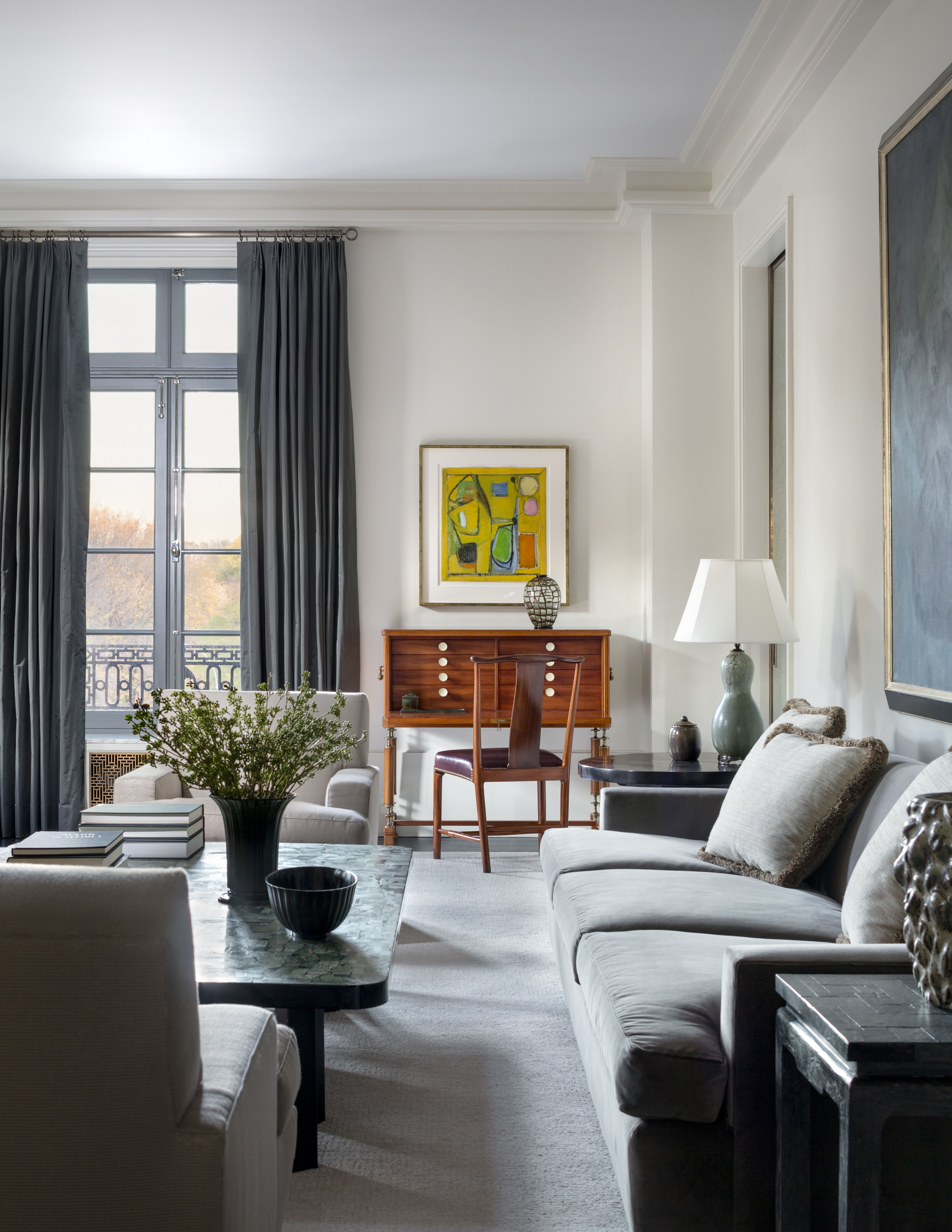 Living room of upper east side apartment overlooking the for Upper living room designs