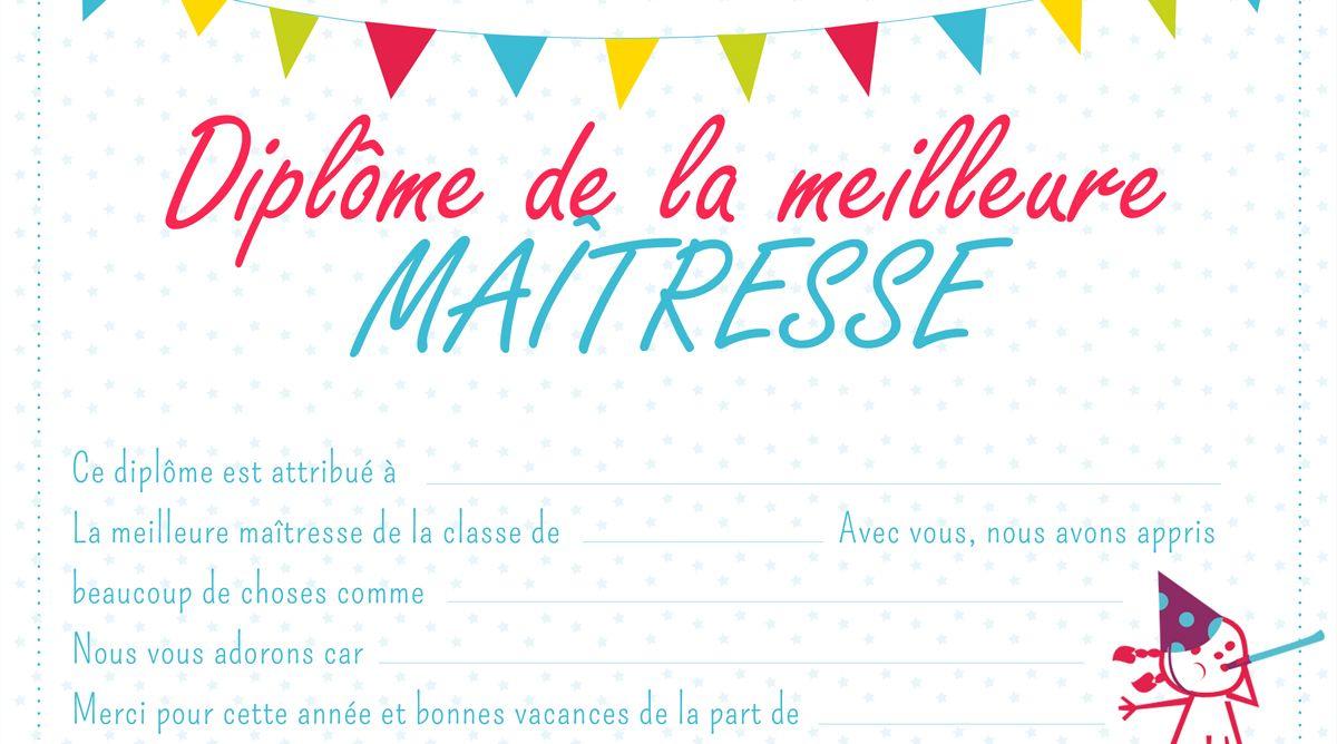 Diplome De La Meilleure Maitresse Diplome Idee Cadeau Maitresse