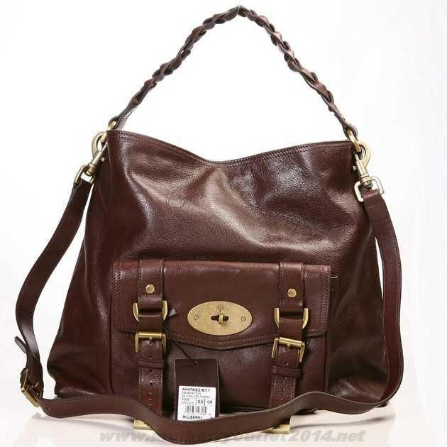 MK 2014 Womens Mulberry Alexa Leather Hobo Bag Dark Coffee Outlet