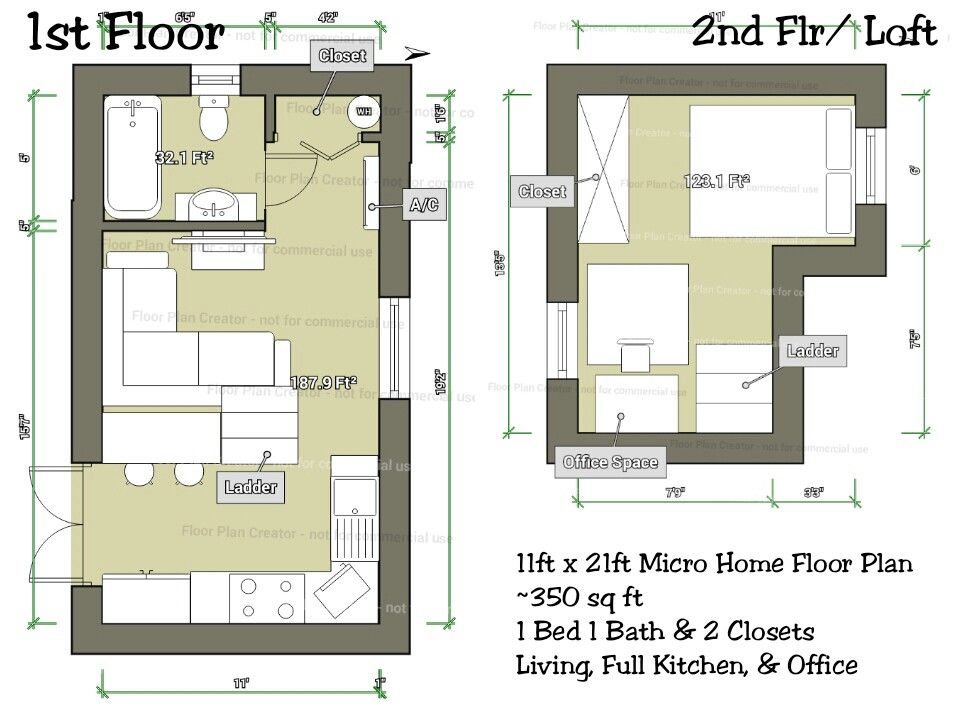 Tiny Micro Home Floor Plan Designed On Mobile App Just 350