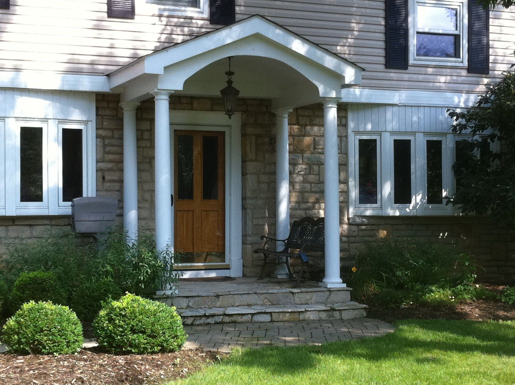 Resplendent Small Front Porch Ideas With Concrete Decks Flooring As