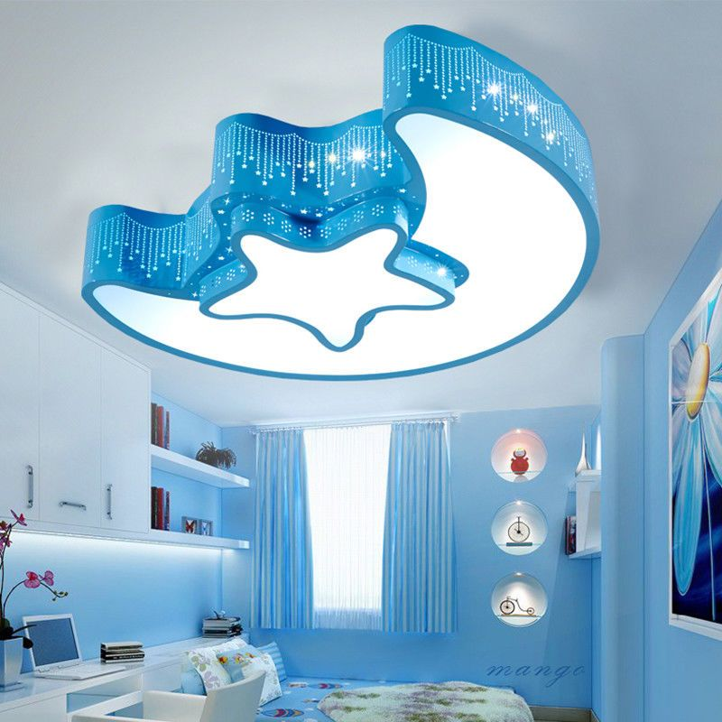 Kids Modern Childrens Room Led Star Moon Bedroom Decorative Ceiling Light Lamp Blue Childrenl Modern Childrens Room Decorative Ceiling Lights Ceiling Lights
