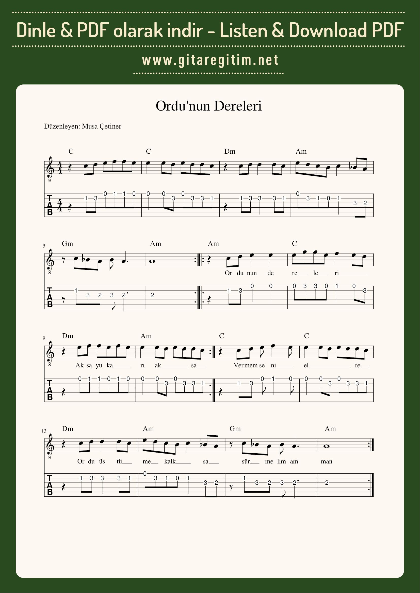 Ordu'nun Dereleri - Nota - Tab   #türkü #gitar#guitar #notalar #sheetmusic #gitaregitim #musaçetiner