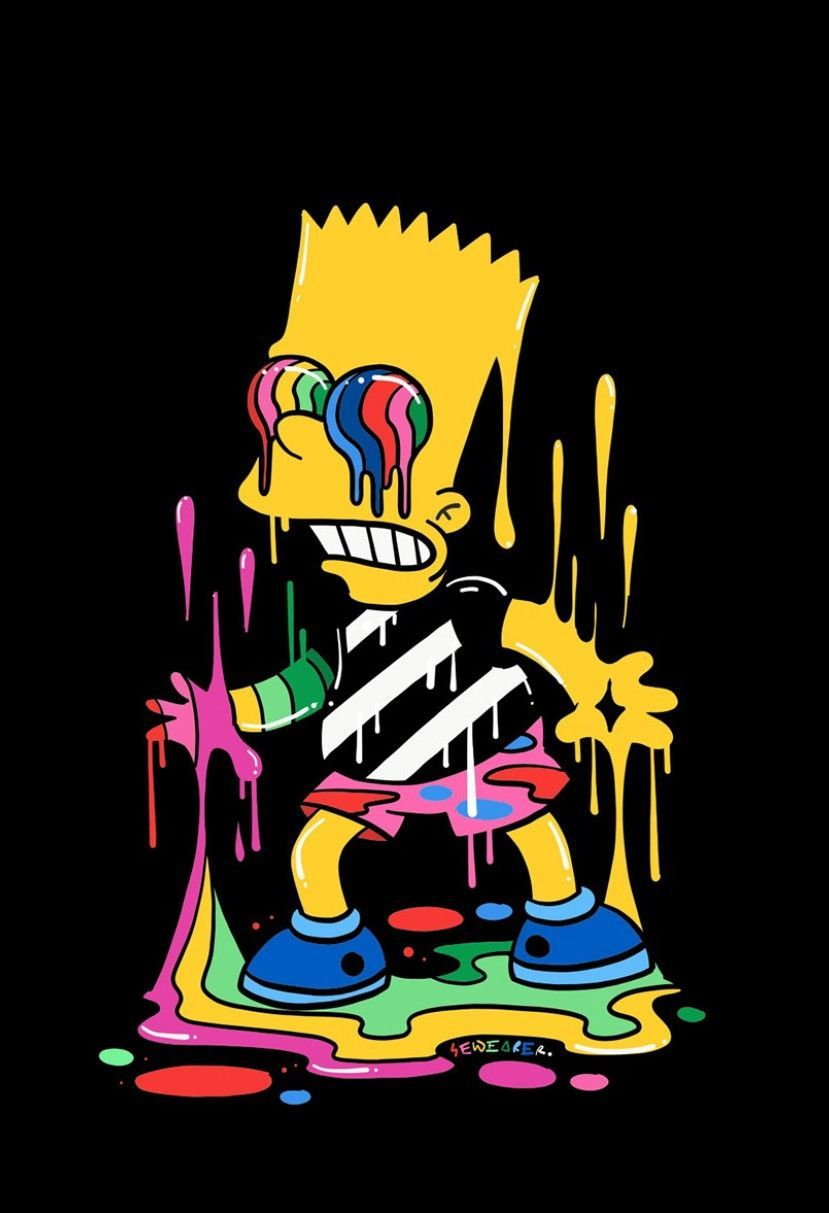 Bart Trippin The Simpsons In 2020 Psychedelische Zeichnungen