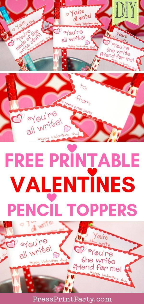 Free Valentine's Day Printable Pencil Toppers  Press Print Party! is part of Valentines printables free, Free printable valentines tags, Parents valentines, Valentines printables, Valentine's cards for kids, Diy gifts for kids - Get your free valentine's day printables for gifts for the whole classroom with these cute flag pencil toppers with 3 clever sayings   You're all write ,  Y