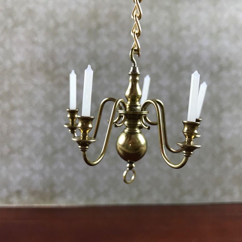 lighting for dollhouses. VTG 1:12 Dollhouse Lighting Brass Chandelier 5 Arm Miniature Wax Candelabra OOAK For Dollhouses S