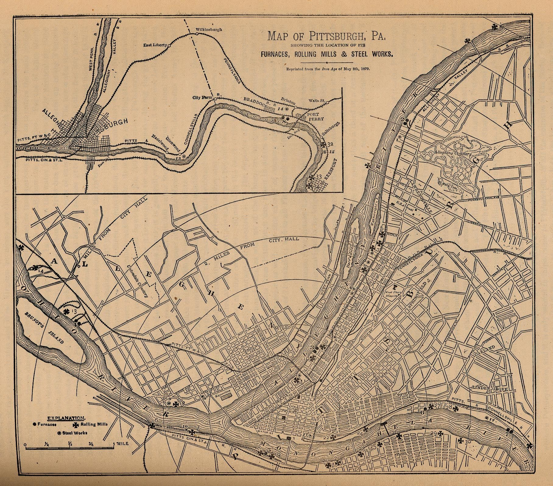 Pittsburgh Map Of Furnaces Rolling Mills And Steel Works - Pittsburgh pa on us map