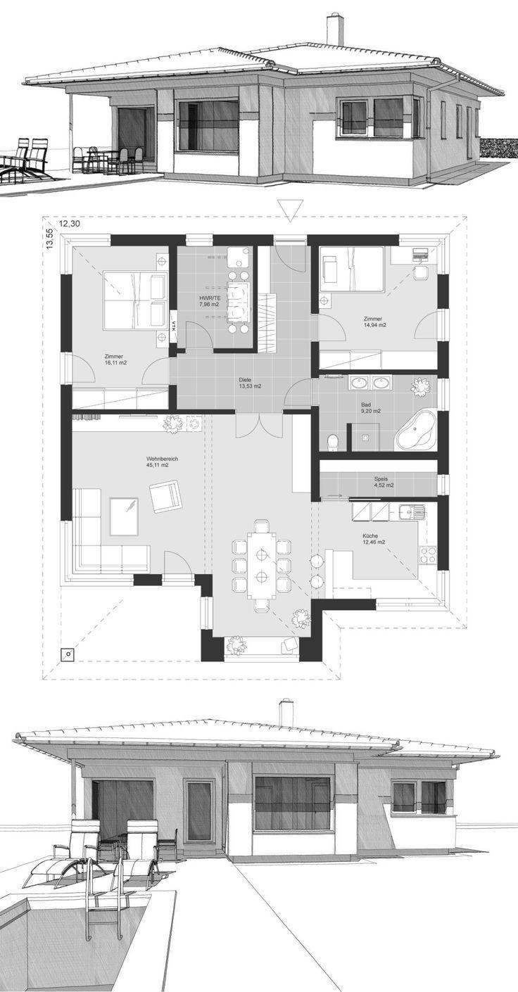Bungalow Haus Neubau modern mit Walmdach & 3 Zimmer