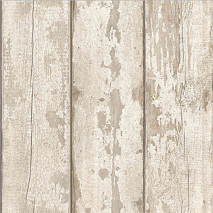 arthouse whitewashed wood wallpaper in white  bed bath