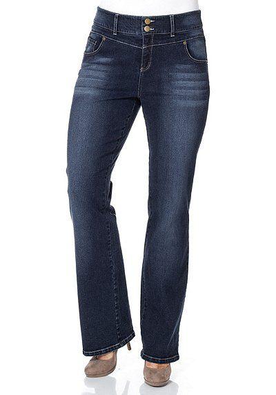 sheego Denim Bootcut-Stretch-Jeans mit hoher Leibhöhe – blau