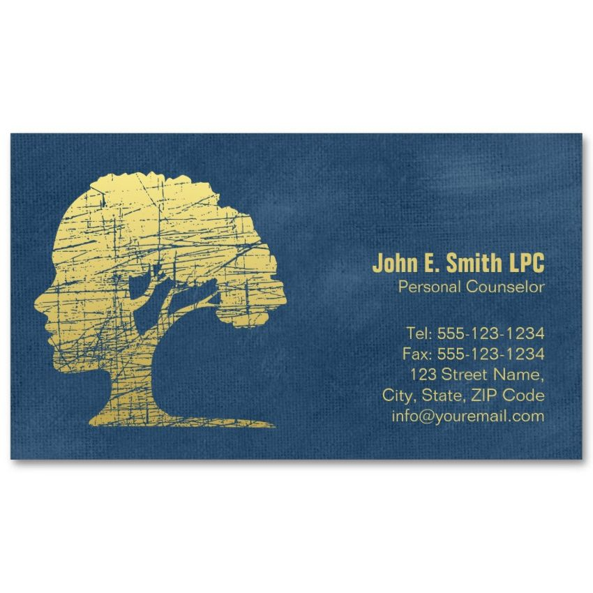 Blue Creative Psychologist Business Cards Mind And Tree Card