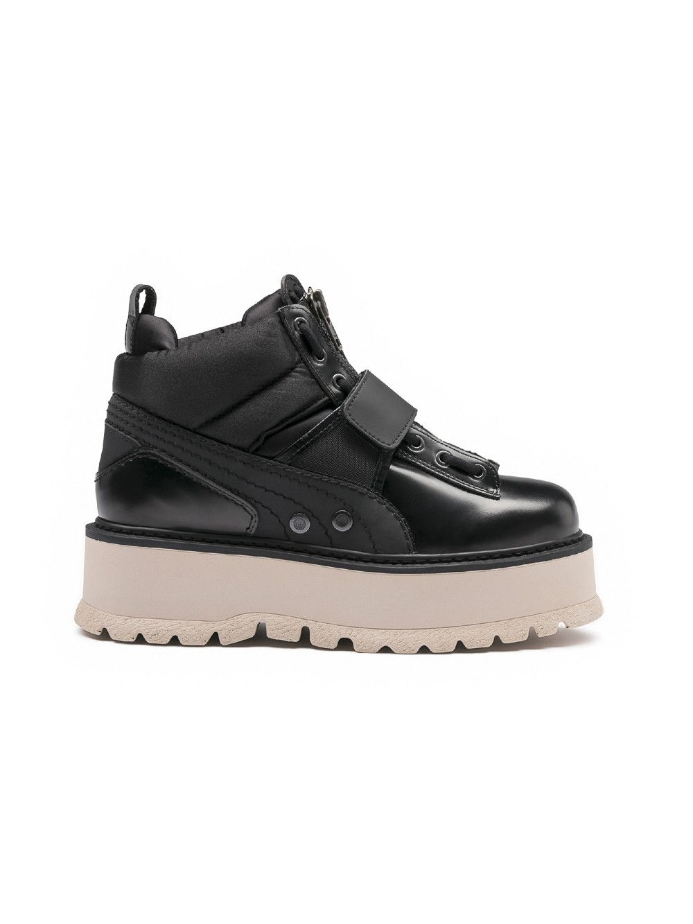 Fenty By Rihanna Leather Strap Sneaker Boots In Black