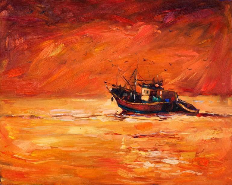 Fishing Boats Sunset Yellow Framed SINGLE CANVAS PRINT Wall Art