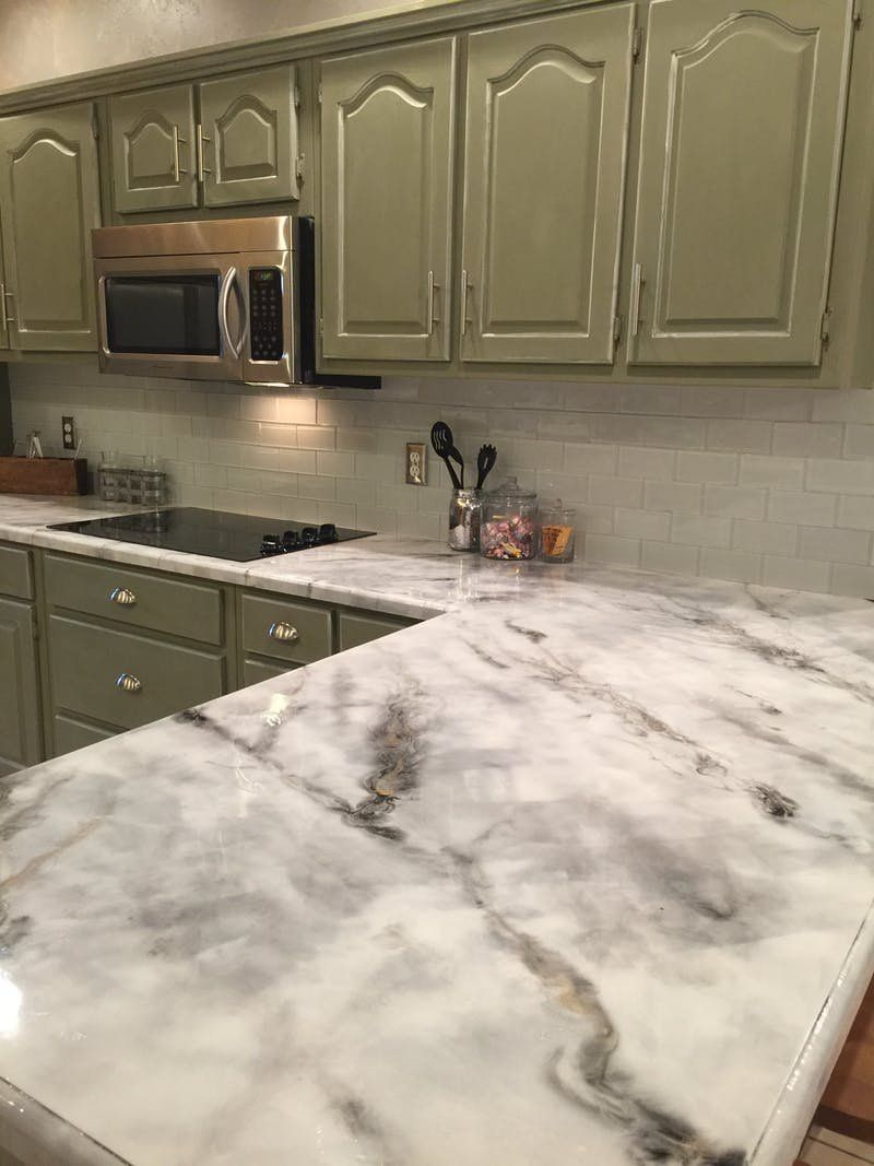 The Easiest Least Expensive Way To Get A Realistic Looking Faux Marble Countertop Kitchen Remodel Countertops Faux Marble Countertop Kitchen Remodel Small