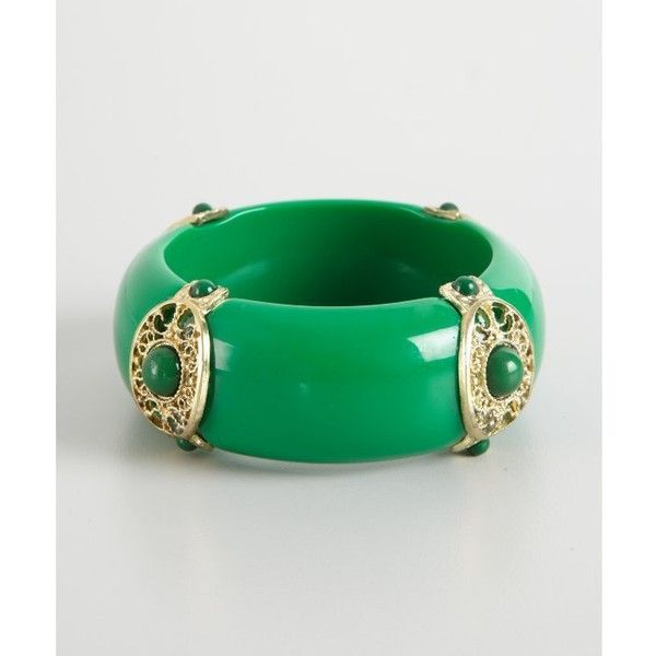 Kenneth Jay Lane Green Resin Stationed Bangle ($39) ❤ liked on Polyvore