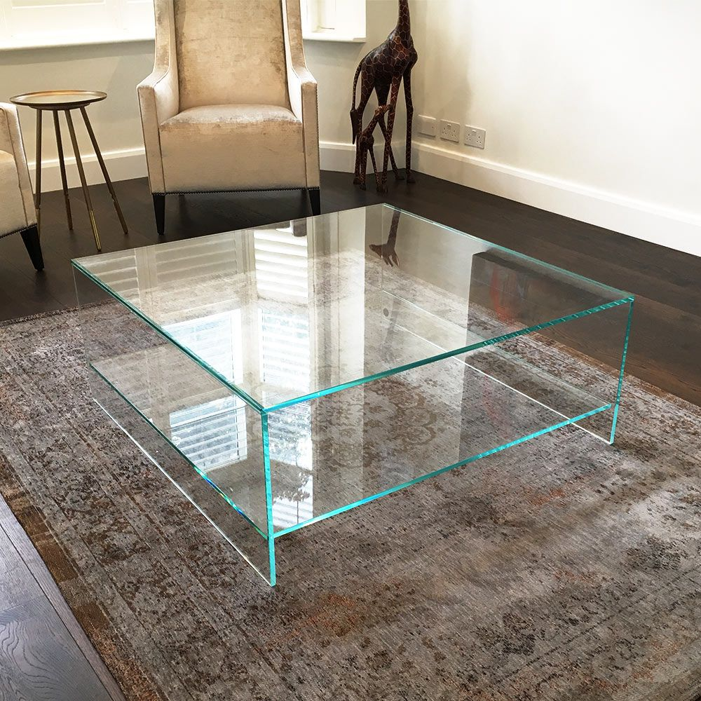 Judd Square Glass Coffee Table With Shelf Is Manufactured With Luxuriously Thick Glass This Coffee Table Square Glass Coffee Table Paint Glass Coffee Table [ 1000 x 1000 Pixel ]