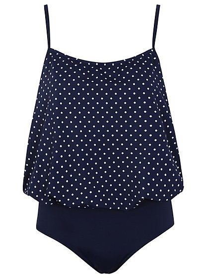 88b797c147 Polka Dot Blouson Swimsuit, read reviews and buy online at George at ASDA.  Shop from our latest range in Women. Go on, go for that fab retro look on  the ...