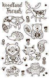 animal coloring drawn hand kids pages vector woodland woodland animal coloring pages for