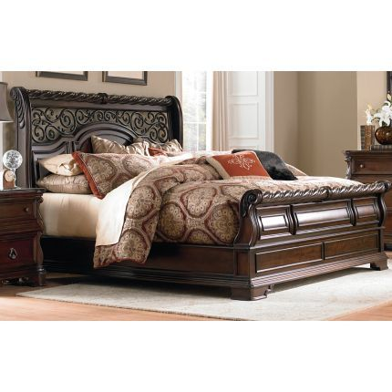 Brown Traditional King Size Sleigh Bed - Arbor Place in 2018