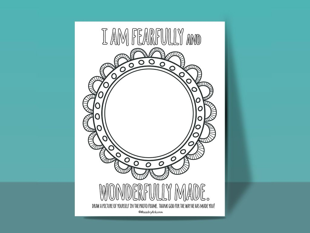 Fearfully And Wonderfully Made Printable Bible Crafts For Kids