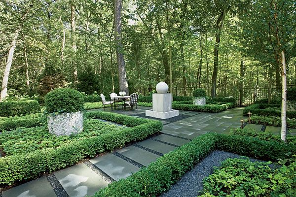 Wonderful A Formal Garden With Bluestone Paths, Planters, And Fountain, Surrounded By  Trees