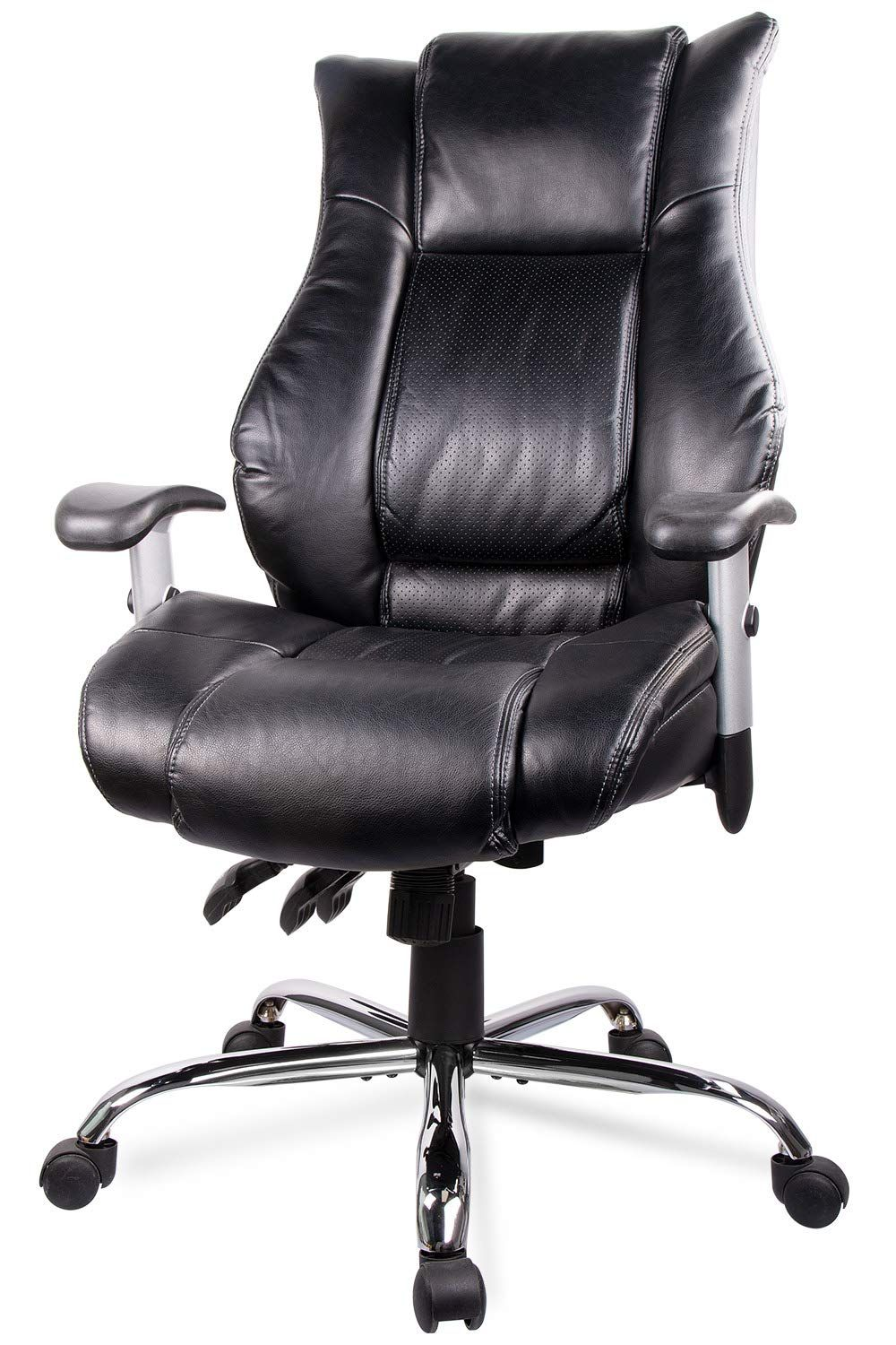 Smugdesk Executive Office Ergonomic Heavy Duty Computer Bonded Leather Adjustable Desk Chair Swivel Comfortable Rolling Black In 2020 Comfortable Computer Chair Adjustable Desk Comfortable Office Chair