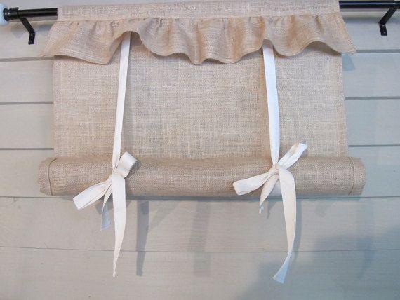 Ruffled Natural Burlap 48 Inch Long Tie Up Shade от BettyandBabs