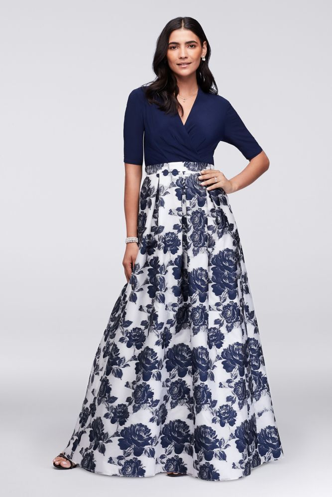 5181e81b317 Surplice Ball Mother of Bride Groom Gown with Metallic Jacquard Skirt -  Navy (Blue)