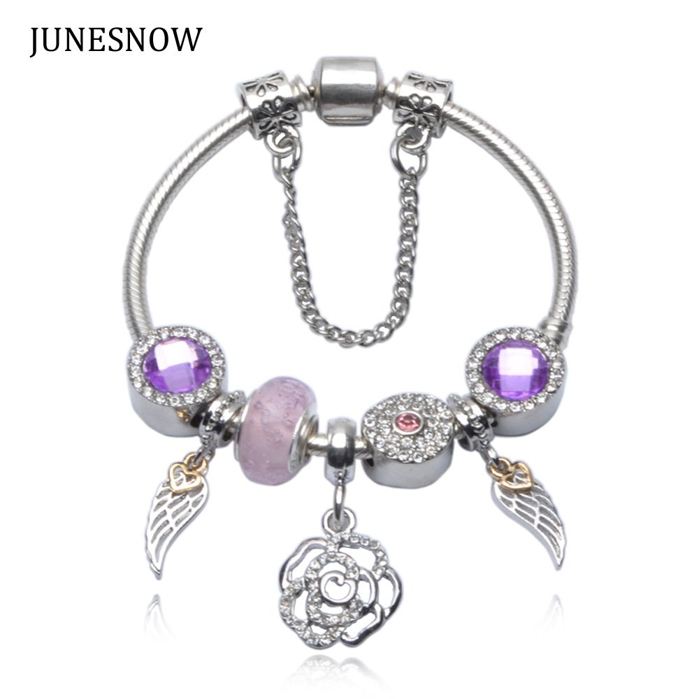fashion luxury silver bracelet with exquisite glass beads
