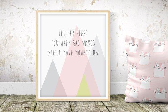 Nursery Print Baby Room Wall Art grey Mountains Kids Bedroom