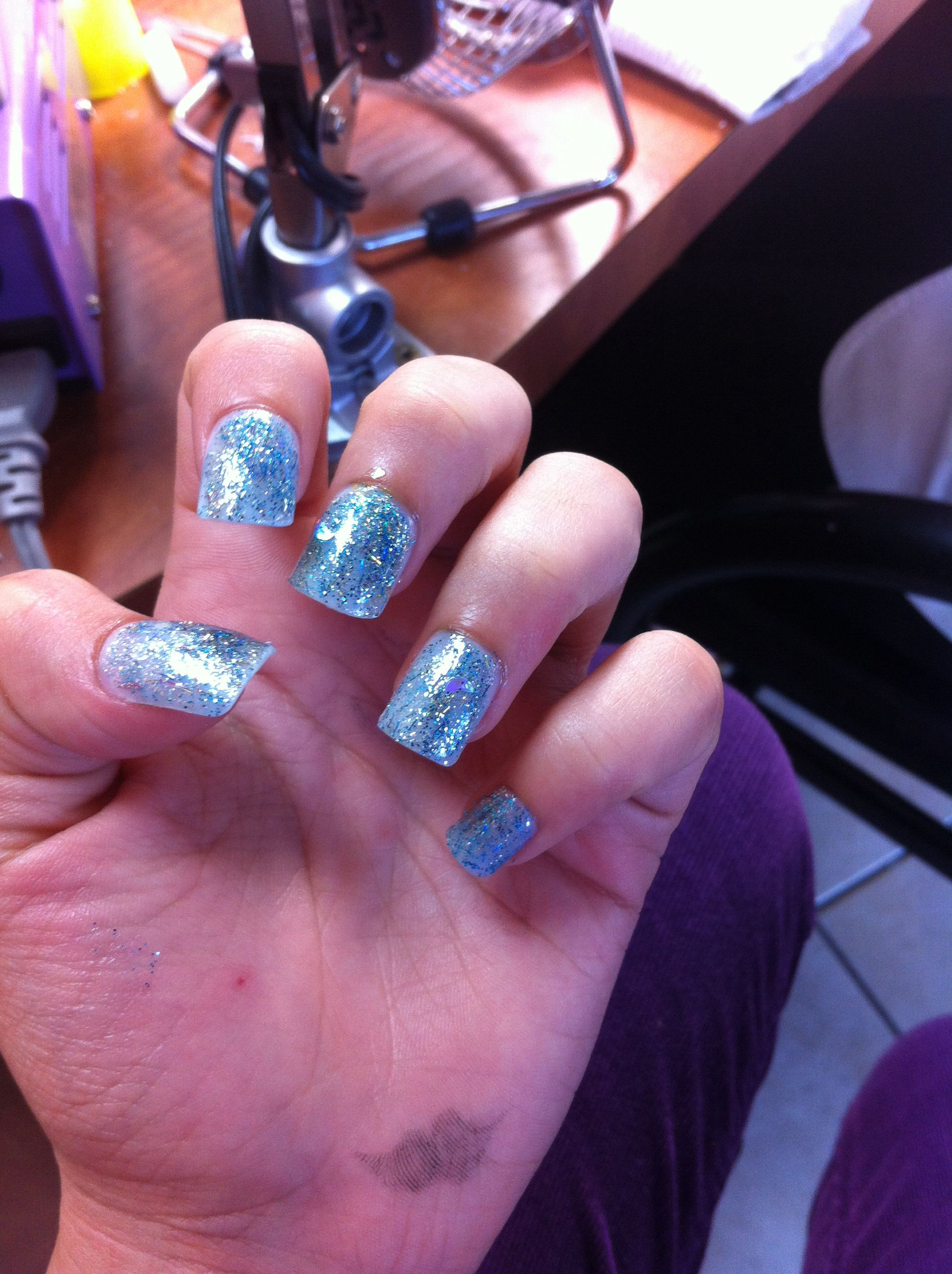 Essie blue glitter nails