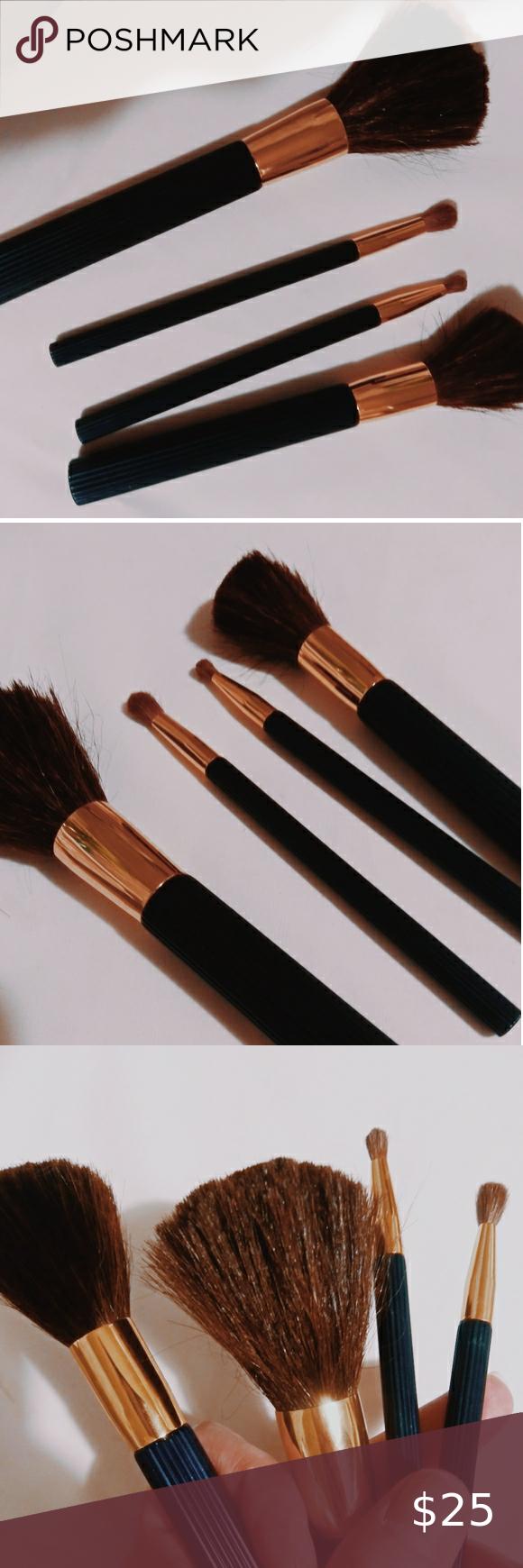 Estee Lauder Ribbed Makeup Brush Set Ribbed Navy Blue