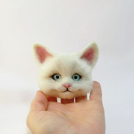 Made To Order Cat Brooches 3d Brooches Felt Wool White Cat Fluffy