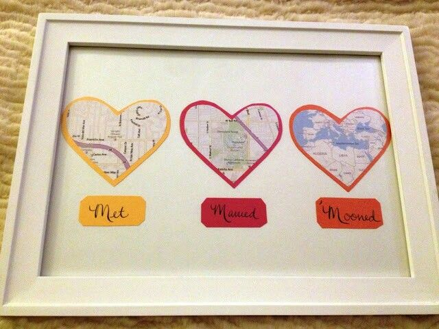 First anniversary gift map hearts display tutorial and other