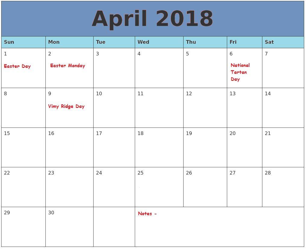 Free Printable April 2018 Calendar 2018 Holiday Calendar