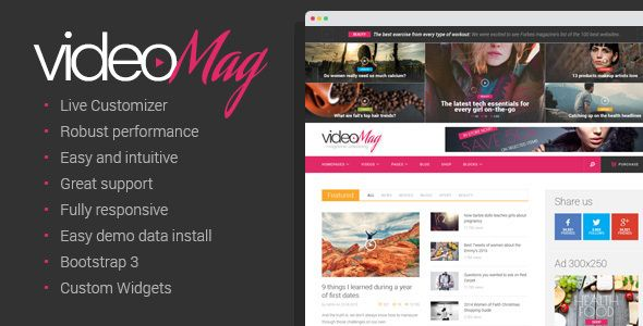 videoMag is a simple video WordPress theme designed both for