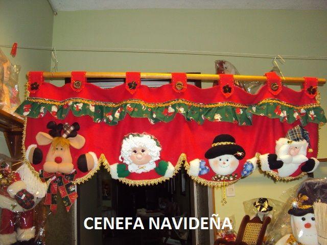 Cenefas navideñas en paño lenci - Imagui Cortinas y accesorios