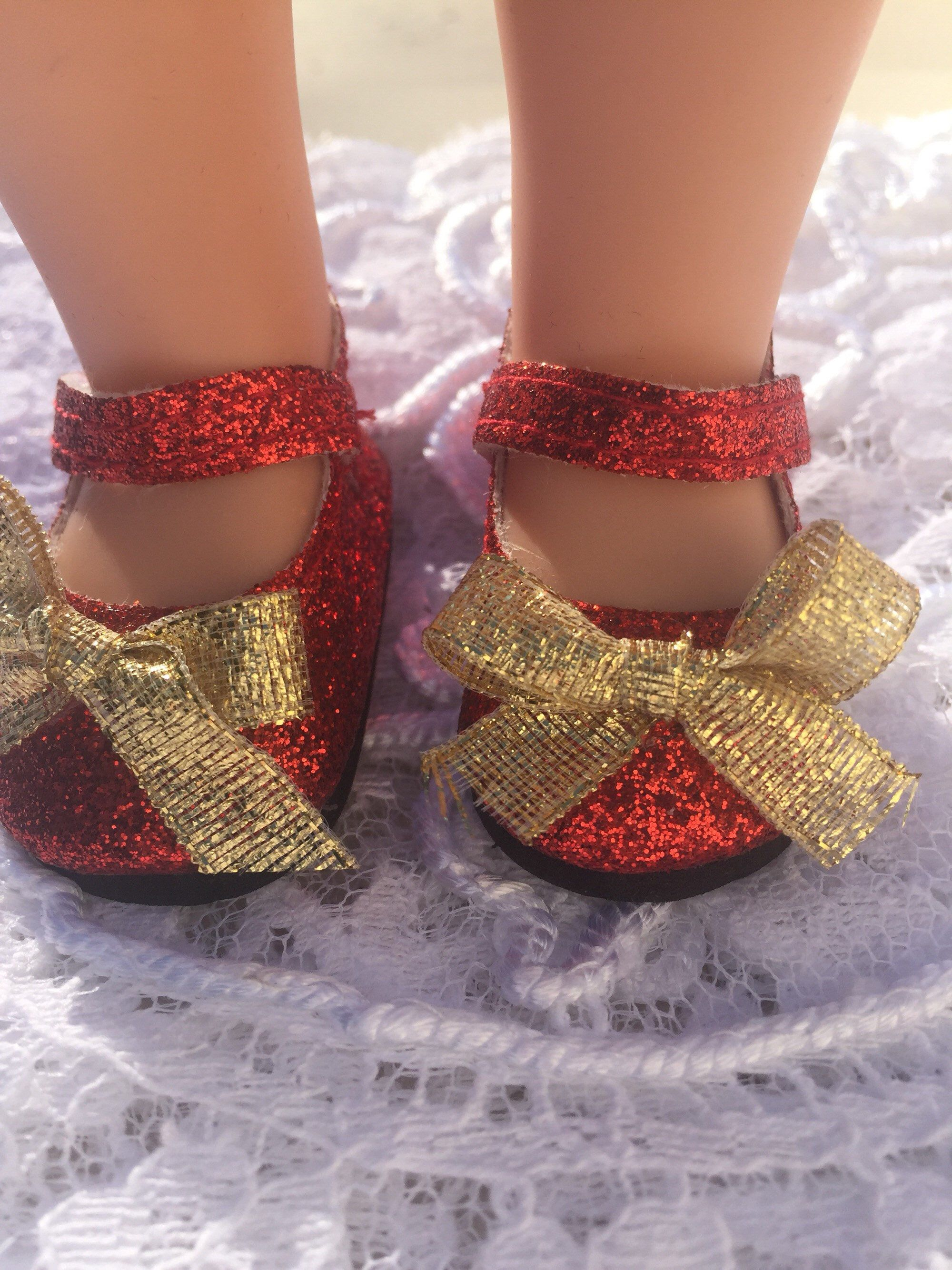 36ba40176953 ... addition to my #etsy shop: 14.5 red sparkly doll shoes fits dolls like  American girl wellie wishers handmade accessories Mary Jane flats with gold  bows