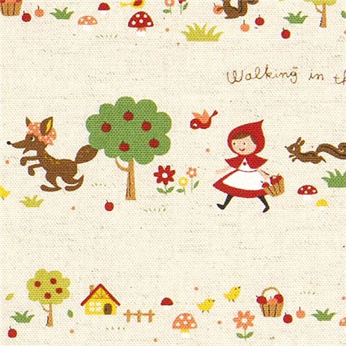 So sweet - little red riding hood canvas fairy tale fabric, imported from Japan. Fabric is 85% cotton and 15% linen. Available for purchase at Mode S4u.